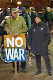 Ursula Le Guin protesting War on Iraq in Portland
